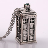 Pandantiv Doctor Who Tardis Police Box Silver Gold | Argintiu, Auriu | Calitate Garantata | Colier Serial | PESTE 2100 CALIFICATIVE POZITIVE