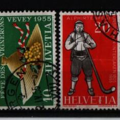 1955 elvetia mi. 607-610 stampilat - Timbre straine