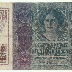 AUSTRIA AUSTRO-UNGARIA 50 KRONEN KORONA COROANE 1914 [5] P-15