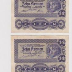 Lot 4 bancnote Austro-Ungaria 10 coroane, koroane, krona - Wien 1922 - serii consecutive