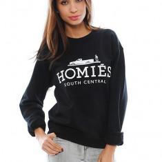 Pulover Negru Casual Fashion HOMIES Dama Maneca Lunga Unisex CALITATE - Bluza dama, Marime: S, M, L, XL, Bumbac
