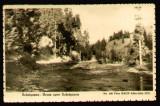 1933 Drum spre Scarisoara, carte postala ilustrata circulata Abrud - Bucuresti, stampila tren, foto Bach Alba Iulia