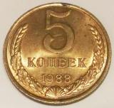 G5. RUSIA URSS 5 KOPEKS KOPEICI 1988 XF / AUNC **