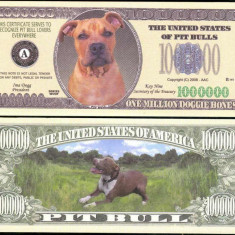 !!! SUA = FANTASY NOTE = PITBULL - 2008 - UNC / SERIA CAINI, WOOF - bancnota america