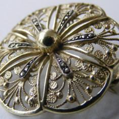 Brosa veche din argint placat cu markasite - de colectie - Brosa argint