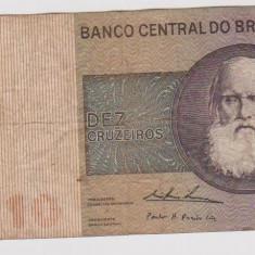 Bancnota 10 cruzeiros Brazilia circulata ( 2 )
