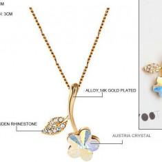 Lantisor Placat Aur 14K si Pandantiv Floare - Lantisor placate cu aur