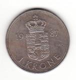 Danemarca 1 coroana 1987 -  Margrethe II, Europa