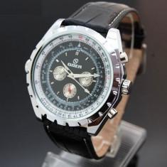 Ceas Automatic Goer - Aviator Black - Ceas barbatesc Ceas automat, Mecanic-Manual, Piele ecologica