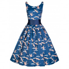 Rochie Vintage, stilul anilor 50 - Lana, Marime: 38, Culoare: Bleumarin, Bleumarin, 3/4
