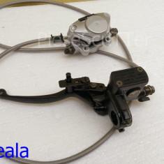 Maneta + Pompa Frana + Etrier + Furtun ( cu blocaj ) Hidraulica Moto Scuter / Atv ( partea STANGA ) - Maneta frana Moto