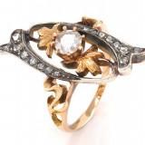 Inel ANTIK  cu diamante - argint și aur roz 18K - Gr . 54 - 4,75g