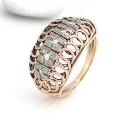 INEL ANTIK CU DIAMANTE ca.0, 25 CRT AUR 14K roșu si alb - 5, 0 g anul 1940.. - Inel diamant, Culoare: Galben, 46 - 56
