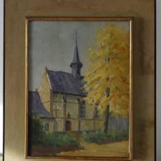 Tablou 'Biserica'-ulei pe carton - Tablou autor neidentificat