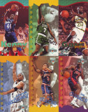 1995 Jucatori americani de baschet - 6 cartonase mari cu reclama NBA Jam Session / Trade cards