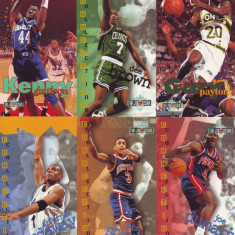 1995 Jucatori americani de baschet - 6 cartonase mari cu reclama NBA Jam Session / Trade cards