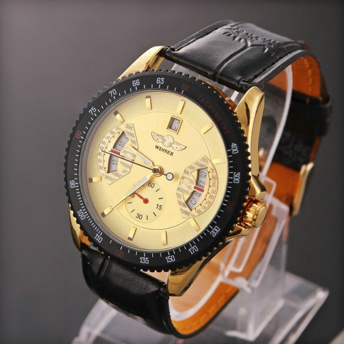 Ceas Winner Tachymetre MILITAR ARMY DELUXE/FASHION EXCLUSIVE FULL AUTOMATIC GOLD! CALITATE GARANTATA! PESTE 2200 CALIFICATIVE POZITIVE! foto mare