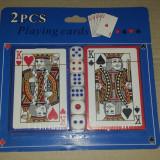 SET CART DE JOC + 6 ZARURI. ZAR 1 cm. POKER. Pachet CARTI DE JOC PLASTICATE. . Produs Nou. SIGILAT - Set table