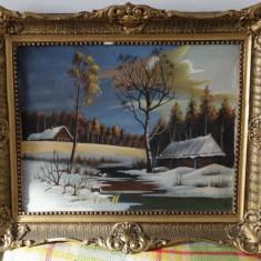 Tablou 'Cabane iarna' - pictura pe panza - Tablou autor neidentificat