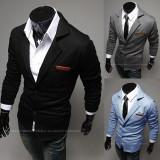 SACOU BARBATI Slim Fit Exclusive Design CASUAL Cambrat | Negru, Gri, Albastru, 2 nasturi, Normal