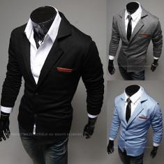 SACOU BARBATI Slim Fit Exclusive Design CASUAL Cambrat | Negru, Gri, Albastru, Marime: S, M, L, 2 nasturi, Normal, Bumbac