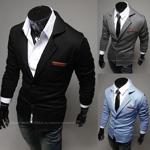 SACOU BARBATI Slim Fit Exclusive Design CASUAL Cambrat | Negru, Gri, Albastru foto mare