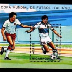 NICARAGUA 1990 FOTBAL CUPA MONDIALA - Timbre straine, Sport, Nestampilat