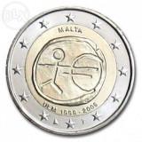 MALTA 2 euro comemorativ 2009 EMU-10 ani Uniune, UNC, Europa, Cupru-Nichel