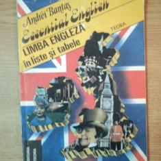 ESSENTIAL ENGLISH. LIMBA ENGLEZA IN LISTE SI TABELE de ANDREI BANTAS, 1991 - Carte in alte limbi straine