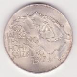 (1) MONEDA DIN ARGINT AUSTRIA - 100 SCHILLING 1977, JUBILIARA - 900 JAHRE FESTUNG HOHEN-SALZBURG 1977, 24 GRAME, PURITATE 640, Europa