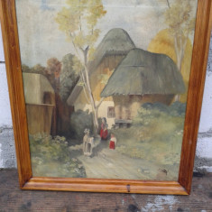 pictura in ulei pe pinza perioada interbelica de colectie . REDUCERE