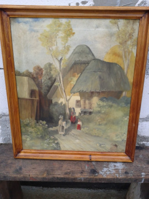 pictura in ulei pe pinza perioada interbelica de colectie . REDUCERE foto