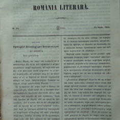 Revista Romania literara ; Director Vasile Alecsandri , nr. 24 , 1855 , texte editia 1 de Alecsandri , Donici