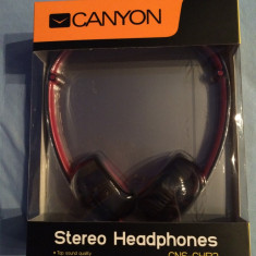 Casti Rosu Canyon Over-Head, NOI, SIGILATE !!!, Casti Over Ear, Cu fir, Mufa 3, 5mm, Active Noise Cancelling