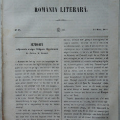 Revista Romania literara ; Director Vasile Alecsandri , nr. 18 , 1855 , texte editia 1 de Alecsandri , Konachi , Alexandrescu