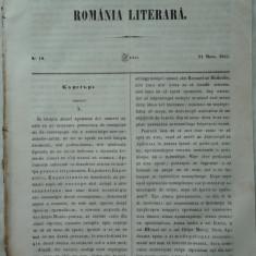 Revista Romania literara ; Director Vasile Alecsandri , nr. 19 , 1855 , texte editia 1 de Alecsandri , Konaki , Alexandrescu