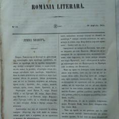 Revista Romania literara ; Director Vasile Alecsandri , nr. 15 , 1855 , texte editia 1 de Alecsandri , Negruzzi , Alexandrescu , Kogalniceanu