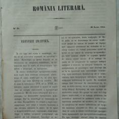 Revista Romania literara ; Director Vasile Alecsandri , nr. 29 , Iasi , 1855