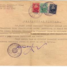 CERTIFICAT FISCAL 1949 CU 3 BUC. TIMBRE FISCALE NUANTE INCHISE, Documente