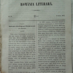Revista Romania literara ; Director Vasile Alecsandri , nr. 25 , 1855 , Bucovina
