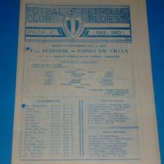 Program meci fotbal PETROLUL Ploiesti - CHIMIA Ramnicu Valcea 16.10.1982