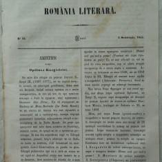 Revista Romania literara ; Director Vasile Alecsandri , nr. 34 , Iasi , 1855