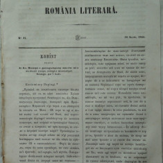 Revista Romania literara ; Director Vasile Alecsandri , nr. 27 , Iasi , 1855 , Bolintineanu