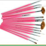 Set de 15 pensule manichiura / gel / acril / unghii false / nail art / pictura - Ustensile