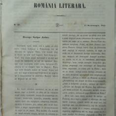 Revista Romania literara ; Director Vasile Alecsandri , nr.37 , Iasi , 1855 , texte editia 1 de Alecsandri , Odobescu