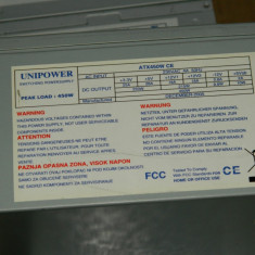 Sursa Unipower BTX450W CE cu PFC 1x Sata 4x molex, 24 pini mobo, vent 80mm - Sursa PC, 450 Watt