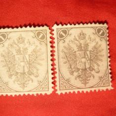 2 Timbre 1 kr- Primul timbru Bosnia si Hertzegovina , 2 nuante gri ,fara guma