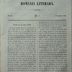Revista Romania literara ; Director Vasile Alecsandri , nr. 43 , Iasi , 1855 , texte editia 1 de Alecsandri