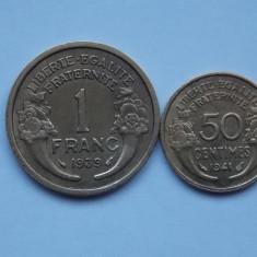 LOT 2 MONEDE FRANTA -1 FRANC, 50 CENTIMES - XF