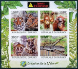 BURUNDI 2012 FAUNA ANIMALE SALBATICE TIGRI, MAIMUTE -  NEDANTELAT MICHEL CAT.2620B-2663B